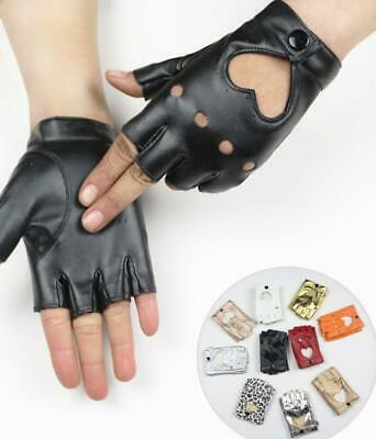 Women Mittens Motorcycle Faux Leather Gloves Half Finger Driving  Dance Glove