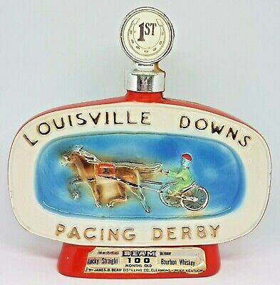 Collectable Rare Jim Beam Decanter LOUISVILLE DOWNS PACING DERBY Harness Racing