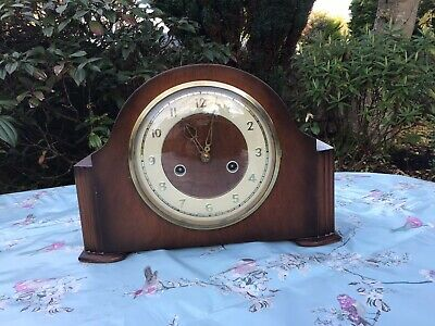 Vintage Art Deco SMITHS ENFIELD Chiming Mantel Clock with Key and Pendulum.