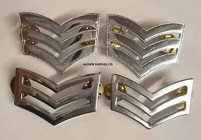 Pair Ex Police Chrome Plated Sergeant Stripes Rank Chevron Badges A3 TYPE1
