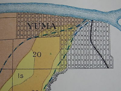 Antique 1902 Map Arizona Yuma Colorado River Gravelly Mesa Approx 16 X 18 #M549