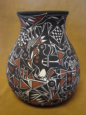Native American Acoma Nature Pot Hand Painted by C. Estevan! PT0167
