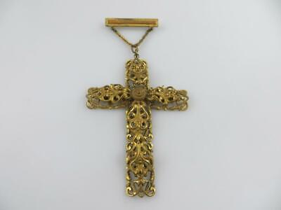 Large Antique Vintage Filigree Cross Brooch, Pin  With Cross Pendant