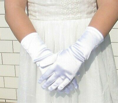 Girl Children Party Dance Prom Ball Costume Opera Satin SHORT White Gloves 4-15Y