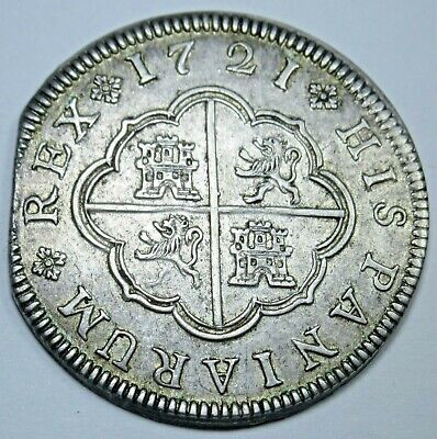 1721 AU Spanish Silver 2 Reales Piece of 8 Real Colonial Two Bits Treasure Coin