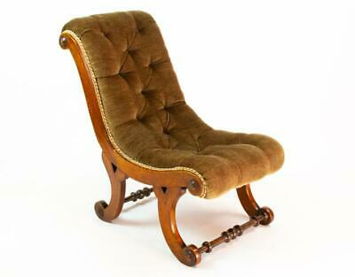 😍 19C Low Chair Walnut Green Upholstery Antique English Victorian Small Child