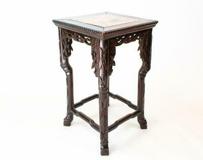 😍 1900 Chinese Stand Carved Wood Marble Bamboo Antique Stool Retro Black Retro