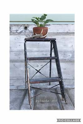 VINTAGE METAL Ladder~Metal STEP STOOL~Industrial Decor~Plant Stand~PATINA