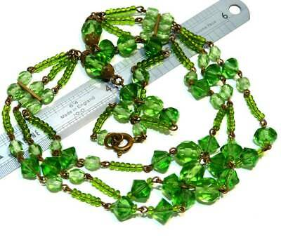 ANTIQUE ART DECO 1930s CZECH LIME GREEN GLASS LITTLE SWAG COLLAR BEAD NECKLACE,