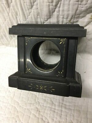 Antique Black Slate Marble Art Nouveau Clock Case with Gold Etched Decorations