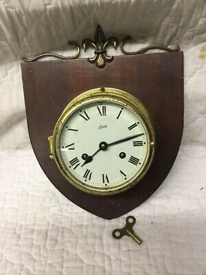 Vintage Brass Ship Strike Clock on Wood Shield SCHATZ made Germany Royal Mariner