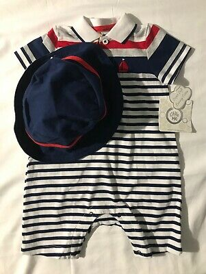 NWT Zoo Animals NEW Little Me Boys 3 Piece Navy /& Gray Romper /& Hat Set