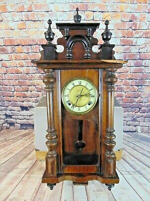 Vintage Antique Vienna Wall Clock German Wooden Walnut Working With Key Used