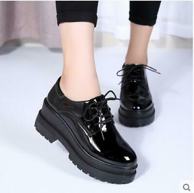 Fashion Girls Women Leather Chunky Low Heel Low Top Shoes Punk Lace Up Black New