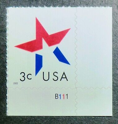 3613 MNH 2002 3c Star PNS make up rate increase to 37c year lower left