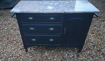 Antique Victorian Solid Oak Marble Top Wash Stand Pitch Black Farrow And Ball