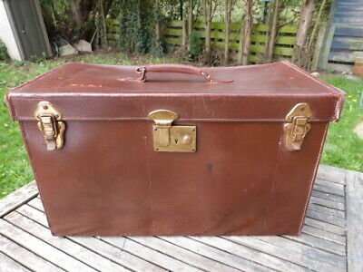 STUNNING LARGE VINTAGE 1930s BROWN LEATHER CARRY CASE HOLDALL