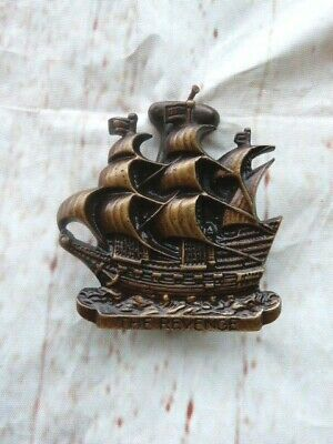 """Small Antique Solid Brass Nautical Door Knocker In Form Of Ship """"The Revenge"""""""