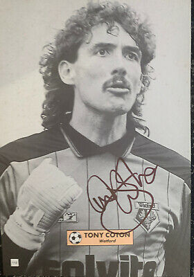 Signed Tony Coton Watford FC Manchester United  Autograph Football Poster Page