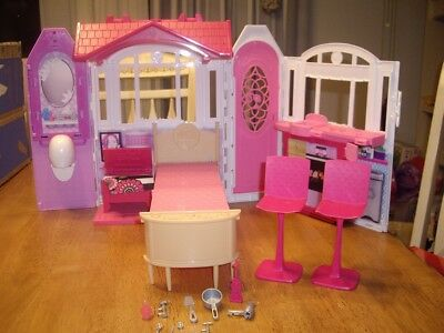 EUC Barbie Glam Getaway House Mattel with Furniture