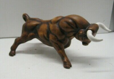 Vintage Angry Charging Bull Figurine Ceramic Treasure Craft Pottery 1970's Era
