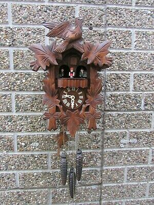 Vintage Black Forest One Day Cuckoo Clock with 2 Tune Revolving Carousel On-Off