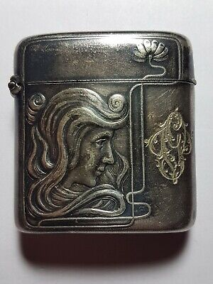 🔴 Antique Asian Chinese Art Deco Nouveau sterling silver vesta case hallmarks