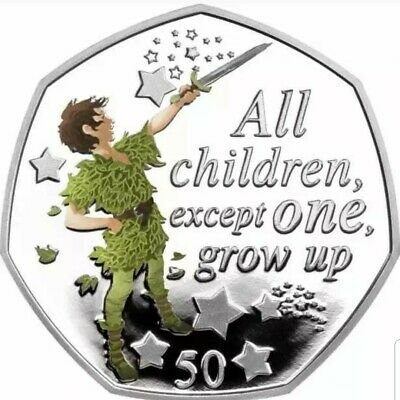 "PETER PAN 50p COIN & COLOUR DECAL 2019 UNCIRCULATED ""All Children Except One"""