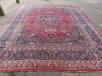 Antique Worn Traditional Hand Made Oriental Red Blue Wool Large Carpet 370x305cm
