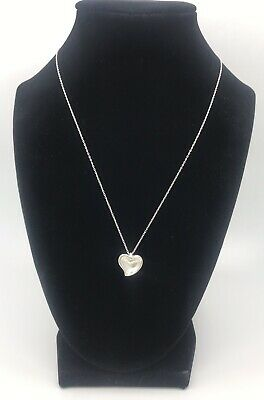 """Tiffany & Co 925 Sterling Silver Carved Heart Necklace Elsa Peretti Pendant 16"""""""