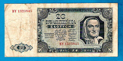 Poland P137(2) 20 Zlotych WOMAN IN SCARF Double Letter Prefix  01.07.1948 VF+
