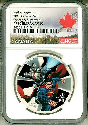 2018 Canada S$20 Justice League Cyborg & Superman GITD NGC PF70 UC Box COA OGP