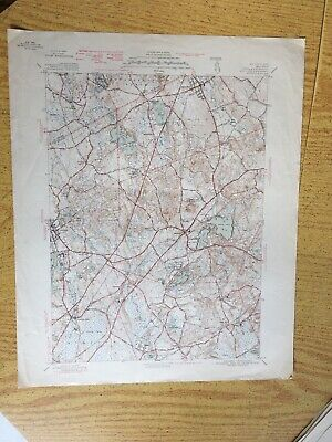 "1940s Wrentham U.S. Geological Survey Map Pawtucket 20""X15"" MA"