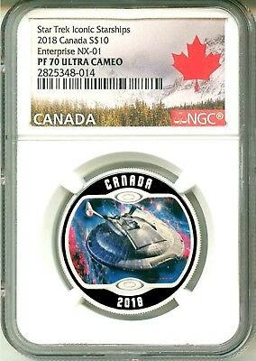 2018 Canada $10 Star Trek Enterprise NX-01 Glow In The Dark NGC PF70 UC Box OGP