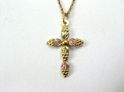 Black Hills Gold Green Montana Sapphire Cross Pendant in Sterling Silver from Landstroms