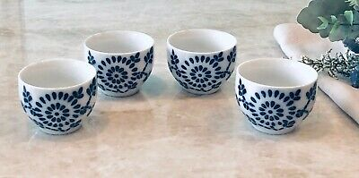 TEAVANA Blue & White Geometric Printed Modern Porcelain Japanese Teacup Set of 4