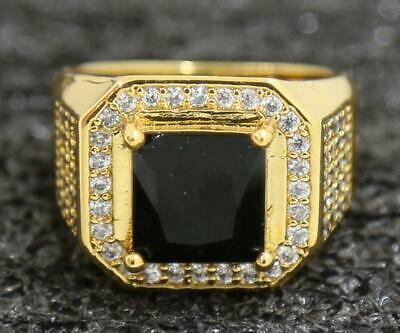 Generous 4.53ct Natural Black Diamond 14KT Solid Yellow Gold Rings Size 10#