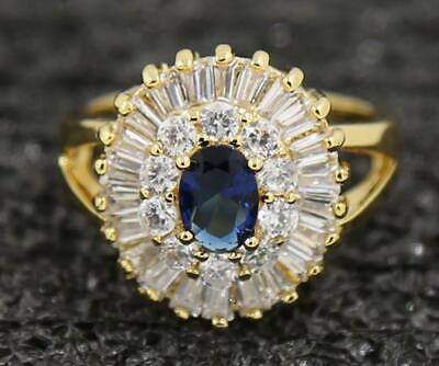 Vintage Wedding 2.55Carat Sapphire Diamond Rings In 14kt Solid Yellow Gold 8.0#