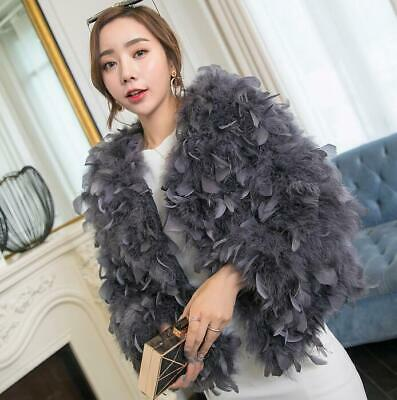New Women's Ostrich Feather Fur Short Coat Shrug Furry Jacket Wedding Party Chic