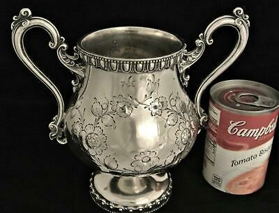 Victorian Mead Robbins Civil War Era Floral Repousse Embossed Waste Pot Teacaddy