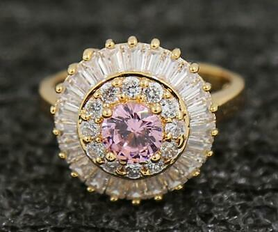 2.11ct Natural Pink Sapphire 14KT Solid Yellow Gold Engagement Rings Sz 7.0#