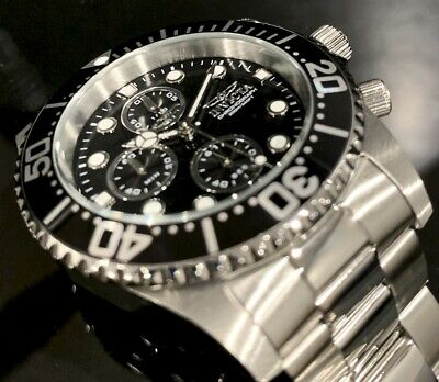 Invicta Men Pro Diver Quatz Chronograph Black Dial Silver SS 42mm Watch 1768