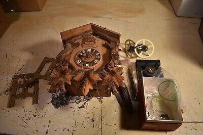 Vintage Black Forest Type Cuckoo Clock:For Repair or Parts;Clockworks Germany