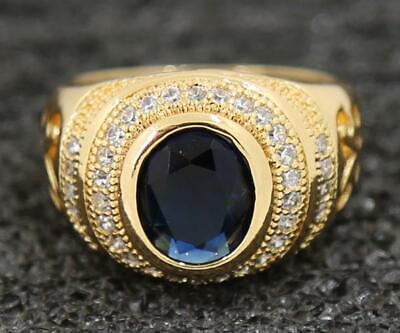 Delicate 3.53ct Natural Sapphire 14KT Solid Yellow Gold Beautiful Rings Sz 9.5#