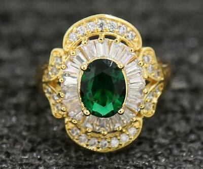 Antique 3.49ct Natural Emerald 14KT Solid Yellow Gold Beautiful Rings Size 6.5#
