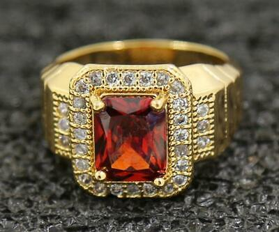 Popular 3.42ct Natural Garnet 14KT Solid Yellow Gold Attractive Rings Size 8.0#