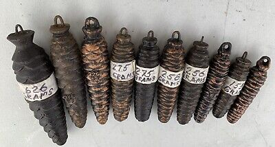 Lot of 10 Assorted Vintage Original Cast Iron Cuckoo Clock Pine Cone Weights