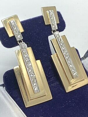 18k Yellow Gold Diamond Earrings Dangle Drop Art Deco Egyptian Revival Antique