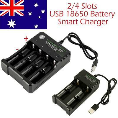 2 4 Slots Smart USB 18650 Battery Charger for 3.7V Rechargeable Battery -