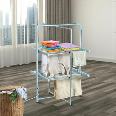 Portable Electric Clothes Airer 2 Tier 10Kg Laundry Dryer Folding Rack 200W New